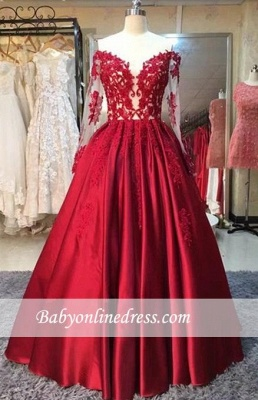 Red Lace Off-the-Shoulder Puffy Prom Dresses 2018 Appliques Long Sleeves Evening Gowns_1