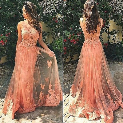 A-Line Sleeveless Tulle Prom Dresses Appliques Backless Party Gowns_3