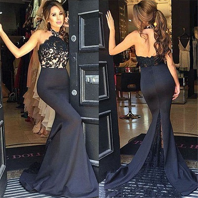 New Arrival Mermaid Black Lace Prom Dresses Sleeveless Party Dress_3