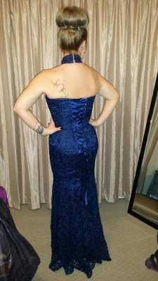 Elegant Lace Mermaid Halter Prom Dresses Lace-Up Crystal Evening Gowns_3