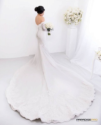 Gorgeous Lace Sweetheart  Mermaid Wedding Dress with Zipper and Pearls_4