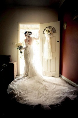 Gorgeous Lace Sweetheart  Mermaid Wedding Dress with Zipper and Pearls_3