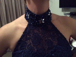 Elegant Lace Mermaid Halter Prom Dresses Lace-Up Crystal Evening Gowns_4