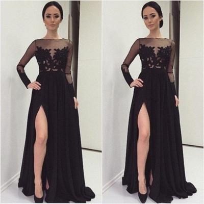 Appliques Bateau Black Long-Sleeves Elegant Side-Slit Prom Dress_3