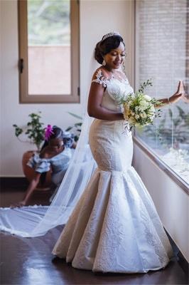 Graceful Scoop Jewel Applique Floor Length Fit And Flare Mermaid Wedding Dresses_1