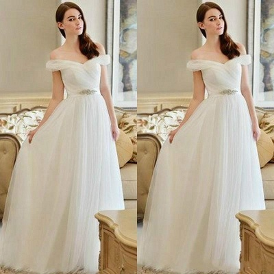 New Arrival Long Crystal Off-the-shoulder Tulle A-line Wedding Dress_3