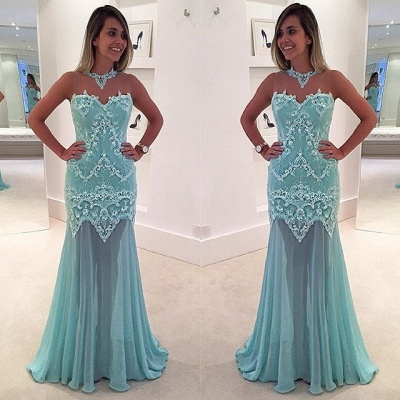 Mermaid Sleeveless Lace High-Neck Sexy Sweep-Train Appliques Prom Dress_2