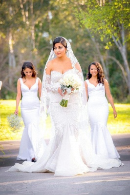 Gorgeous Lace Sweetheart  Mermaid Wedding Dress with Zipper and Pearls_2