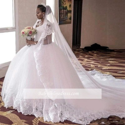 Gorgeous Tulle Cap Sleeve Lace Appliques Long Ball Gown Wedding Dress_1