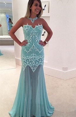 Mermaid Sleeveless Lace High-Neck Sexy Sweep-Train Appliques Prom Dress_3