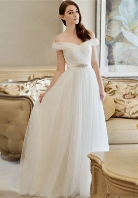 New Arrival Long Crystal Off-the-shoulder Tulle A-line Wedding Dress_2