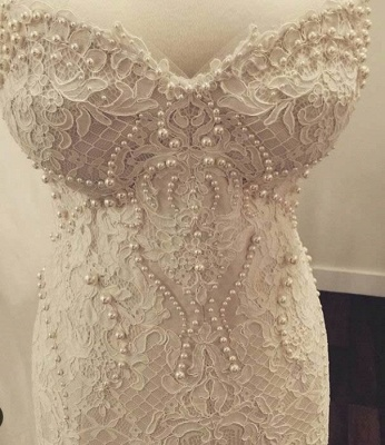 Gorgeous Lace Sweetheart  Mermaid Wedding Dress with Zipper and Pearls_5