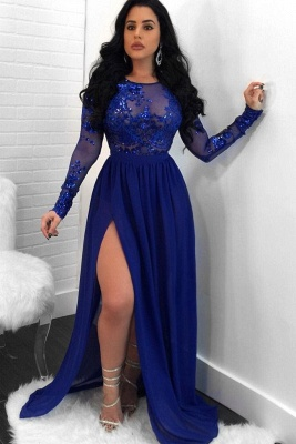 Sexy Royal Blue Slit Evening Dresses | Long Sleeves Open Back Sequin Prom Dresses_1