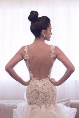 Hi-lo Mermaid Beach Wedding Dresses Straps Open Back Lace Ruffles Train Sexy Bridal Gowns_3