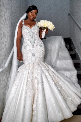 Luxury Spaghetti Strap V Neck Lace Crystal Fit And Falre Mermaid Wedding Dress_1