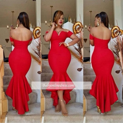 Simple Sexy Off-the-Shoulder Red Prom Dress 2018 Mermaid Hi-Lo Evening Gowns BA0617_1