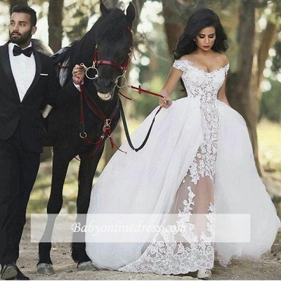 Lace Off-the-Shoulder Gorgeous Overskirt Sheer Detachable Wedding Dresses_1