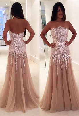 A-line Newest Lace Sleeveless Strapless Zipper Prom Dress_3