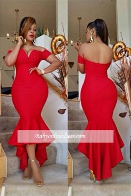 Simple Sexy Off-the-Shoulder Red Prom Dress 2018 Mermaid Hi-Lo Evening Gowns BA0617_3