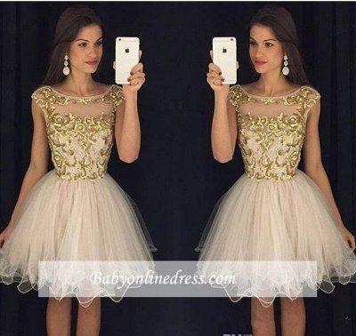 Capped-Sleeves Neckline Champagne Sheer Gold Homecoming Dresses_1