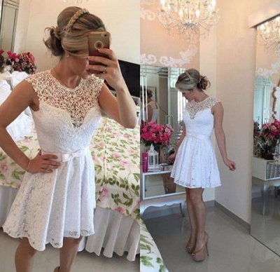 Lace Beaded Capped Sleeves White Short Homecoming Dresses_4