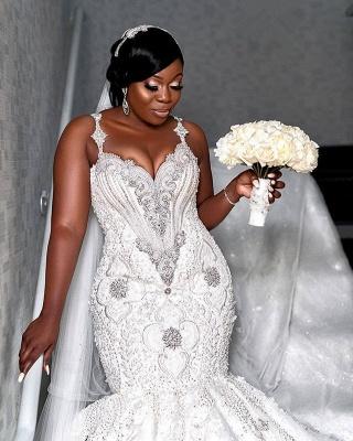 Luxury Spaghetti Strap V Neck Lace Crystal Fit And Falre Mermaid Wedding Dress_2