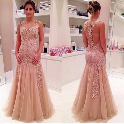 Mermaid Tulle Appliques Prom Dress Floor Length Evening Gowns_3