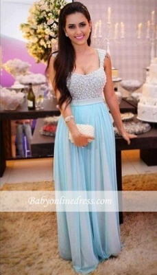 Crystal Sleeveless A-Line Empire Beading Long Prom Dresses_1