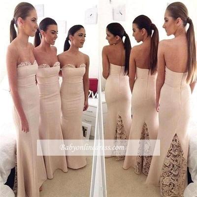 Elegant Sweetheart Lace Mermaid Long Bridesmaid Dress_1