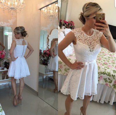 Lace Beaded Capped Sleeves White Short Homecoming Dresses_1