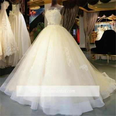 Amazing Lace-Appliques Sleeveless Bridal Gowns Ball-Gown Sash Wedding Dresses_1