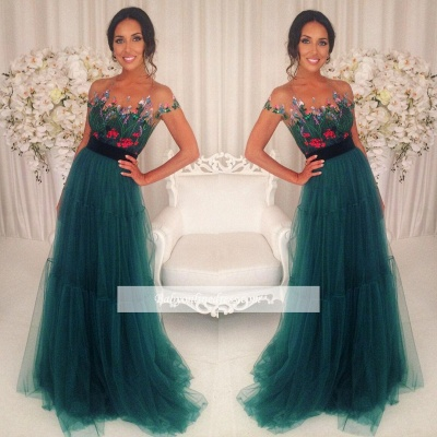 Short-Sleeves Green Appliques Tulle A-Line Prom Dresses 2018_1
