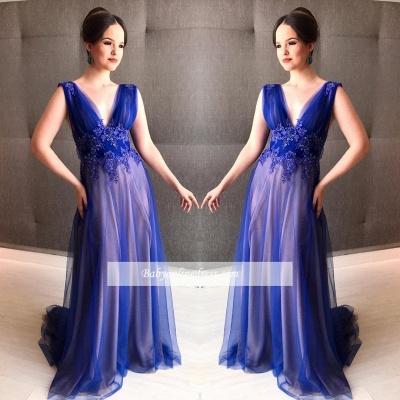A-line V-Neck Sleeveless Royal Blue Appliques Prom Dress_3