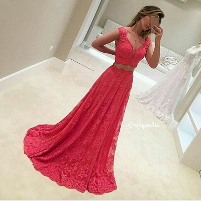 Two-Piece V-Neck Long Lace Mermaid Red Sleeveless Prom Dresses_3