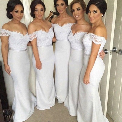 Simple Off Shoulder Sheer Lace Mermaid Cheap Bridesmaid Dresses_5