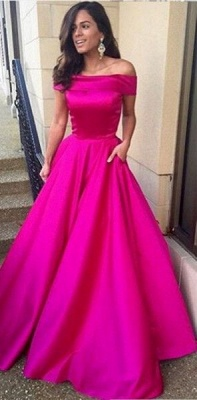 Simple A-Line Off-the-Shoulder Prom Dresses Satin Floor Length Party Gowns_1