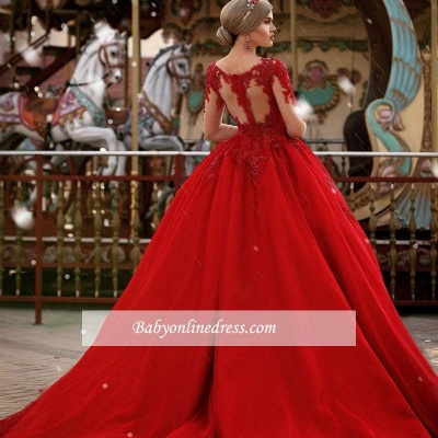 Gorgeous Long Sleeves V-Neck Princess Ball Gown Wedding Dresses_1