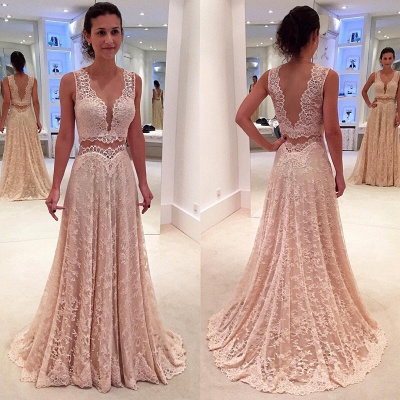 Two-Piece A-line Modern Lace Straps Sleeveless Prom Dress_3