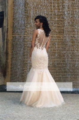 Elegant Floor Length Appliques Mermaid Tulle Wedding Dresses with Beadings_1