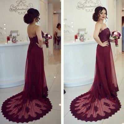 Lace Open-Back Appliques Elegant Strapless Cheap Court-Train Burgundy Prom Dress_3