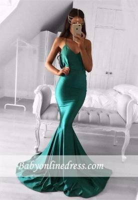 Sweep-Train Green Spaghetti-strap Sleeveless Mermaid Modest Prom Dress_3