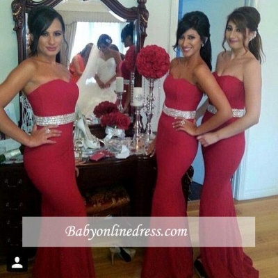 Gorgeous Mermaid Crystal Red Party Dress Sweetheart Bridesmaid Dress_1