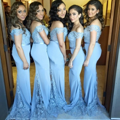 Simple Off Shoulder Sheer Lace Mermaid Cheap Bridesmaid Dresses_4