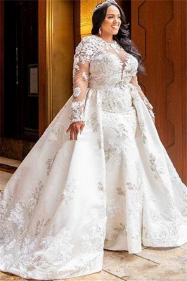 Jewel Elegant Long Sleeves Lace Removable Train Wedding Dresses_1