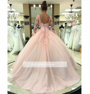 Sweetheart Long Sleeves Ball Gown Wedding Dresses | Simple Lace Quinceanera Dress_1