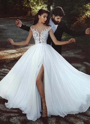 Summer Chiffon A-line Wedding Dresses | Capped Sleeves Lace Appliques Slit Bridal Gowns_1