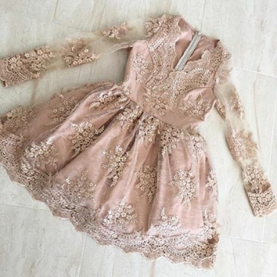 Chic Long Sleeves Lace Homecoming Dresses | Short A-Line Cocktail Dresses_3
