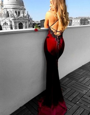 Sexy Dark Green Prom Dresses | Spaghettis Straps Open Back Mermaid Evening Gowns_3