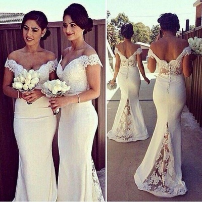 Simple Off Shoulder Sheer Lace Mermaid Cheap Bridesmaid Dresses_3