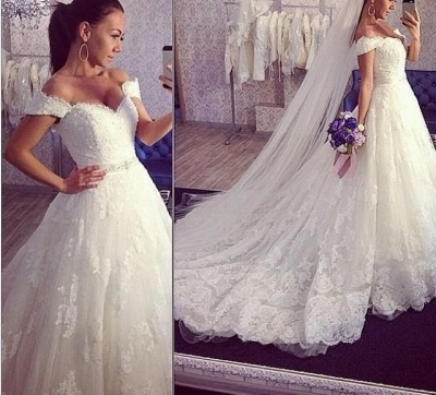 Delicate Train Lace Bridal Ball Gown Tulle Off-the-shoulder Wedding Dress_3